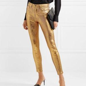 "L'Agence gold crackled ""Margot"" metallic jeans 26"